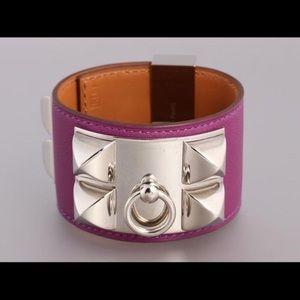 HERMES Collier De Chein Leather Bracelet